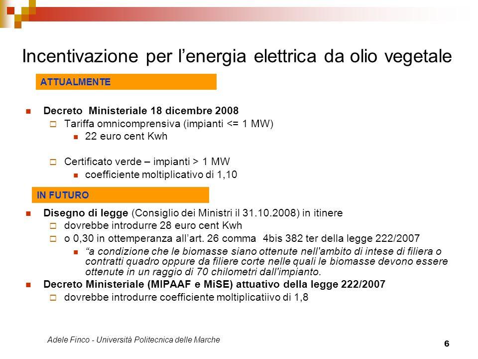 Incentivazione per l'energia elettrica da olio vegetale
