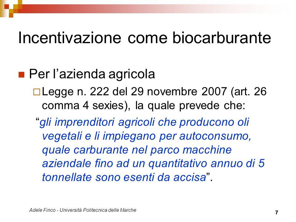 Incentivazione come biocarburante