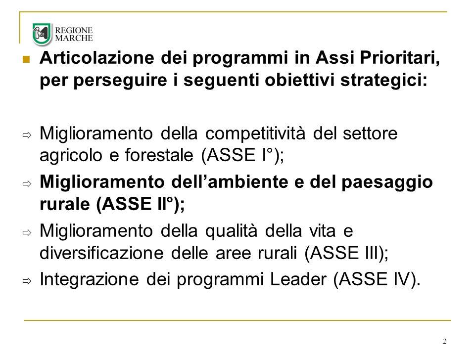 Articolazione dei programmi in Assi Prioritari, per perseguire i seguenti obiettivi strategici: