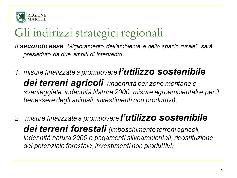 Gli indirizzi strategici regionali