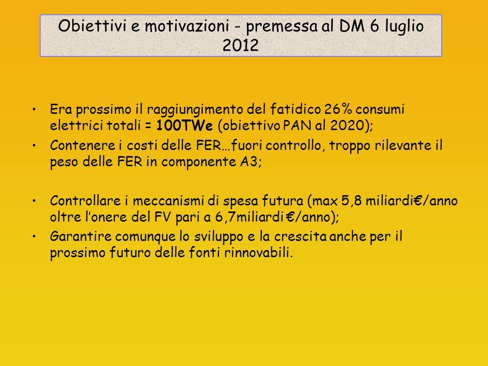 Obiettivi e motivazioni - premessa al DM 6 luglio 2012