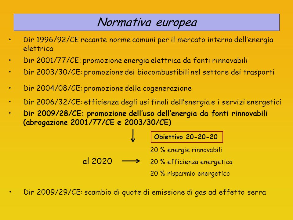 Normativa europea Dir 1996/92/CE recante norme comuni per il mercato interno dell'energia elettrica.