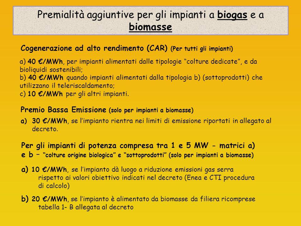 Premialità aggiuntive per gli impianti a biogas e a biomasse