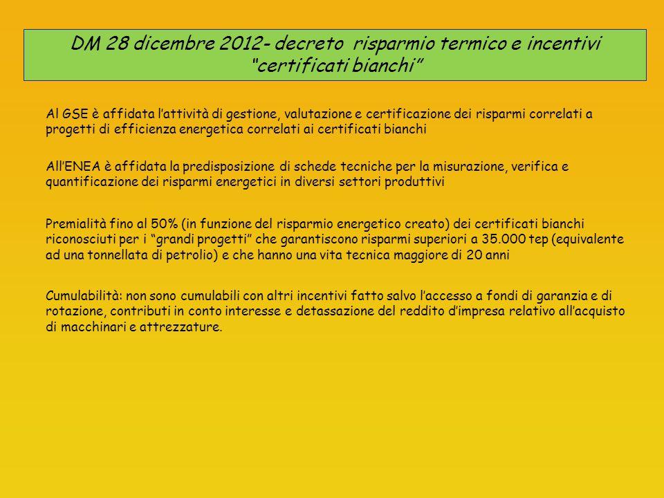 DM 28 dicembre 2012- decreto risparmio termico e incentivi certificati bianchi