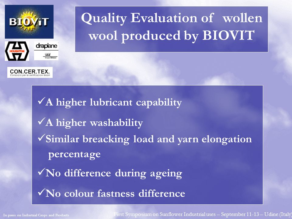 Quality Evaluation of wollen wool produced by BIOVIT
