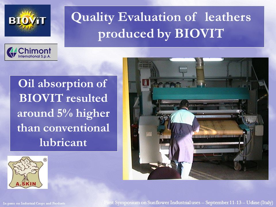 Quality Evaluation of leathers produced by BIOVIT