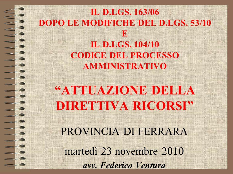 PROVINCIA DI FERRARA martedì 23 novembre 2010 avv. Federico Ventura