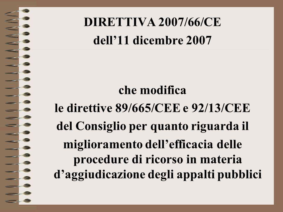 le direttive 89/665/CEE e 92/13/CEE