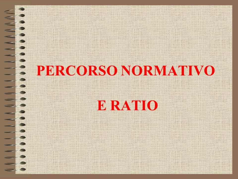 PERCORSO NORMATIVO E RATIO