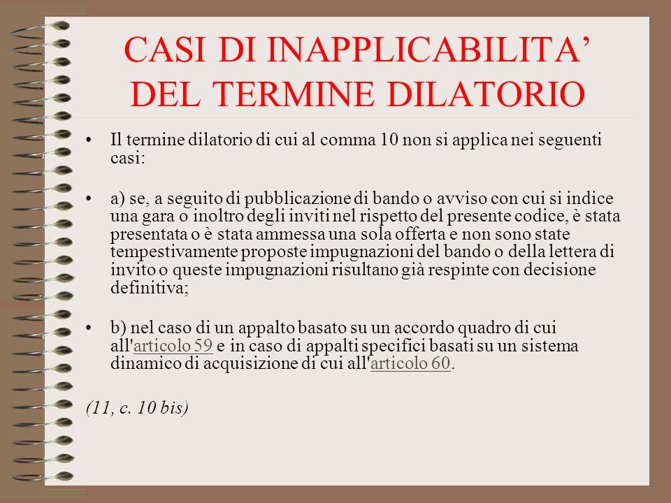 CASI DI INAPPLICABILITA' DEL TERMINE DILATORIO