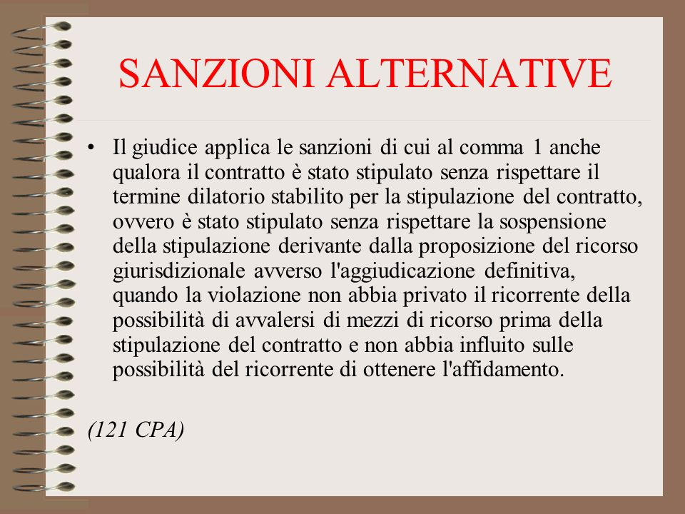 SANZIONI ALTERNATIVE