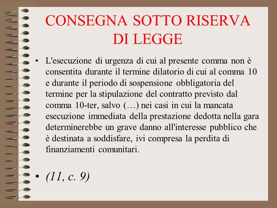 CONSEGNA SOTTO RISERVA DI LEGGE