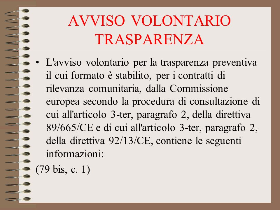 AVVISO VOLONTARIO TRASPARENZA
