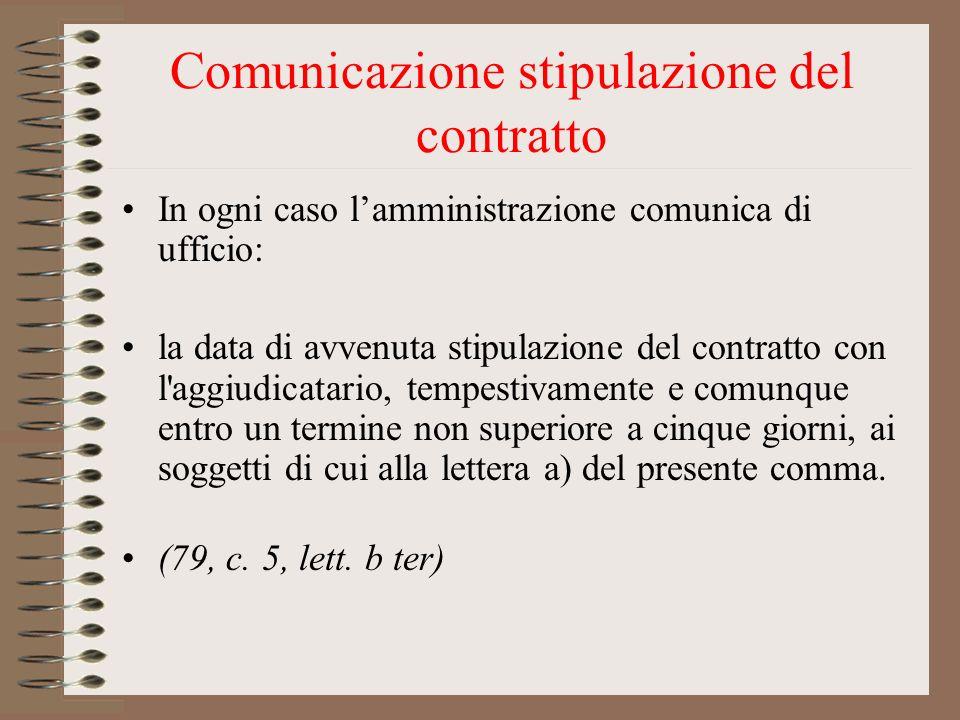 Comunicazione stipulazione del contratto