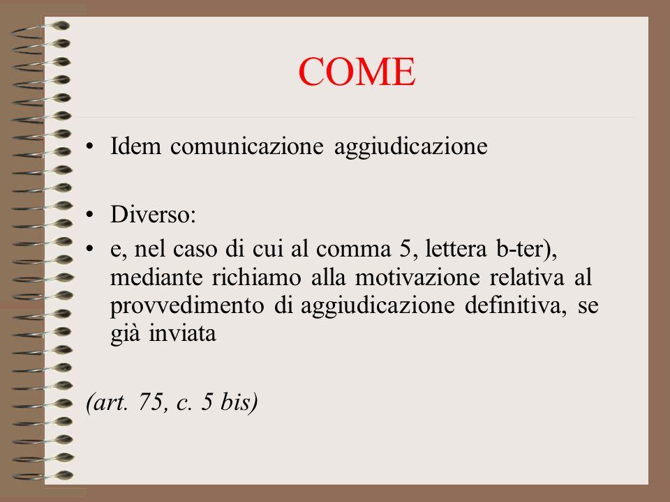 COME Idem comunicazione aggiudicazione Diverso: