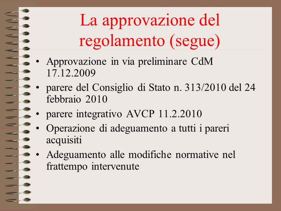 La approvazione del regolamento (segue)