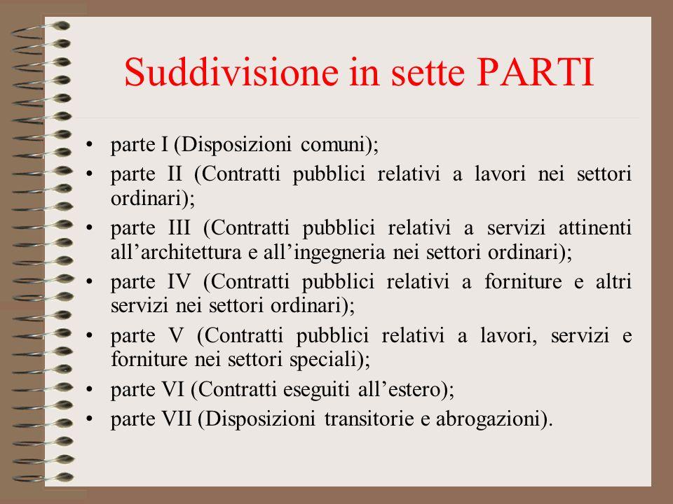 Suddivisione in sette PARTI