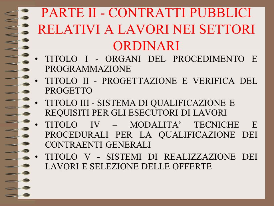 PARTE II - CONTRATTI PUBBLICI RELATIVI A LAVORI NEI SETTORI ORDINARI