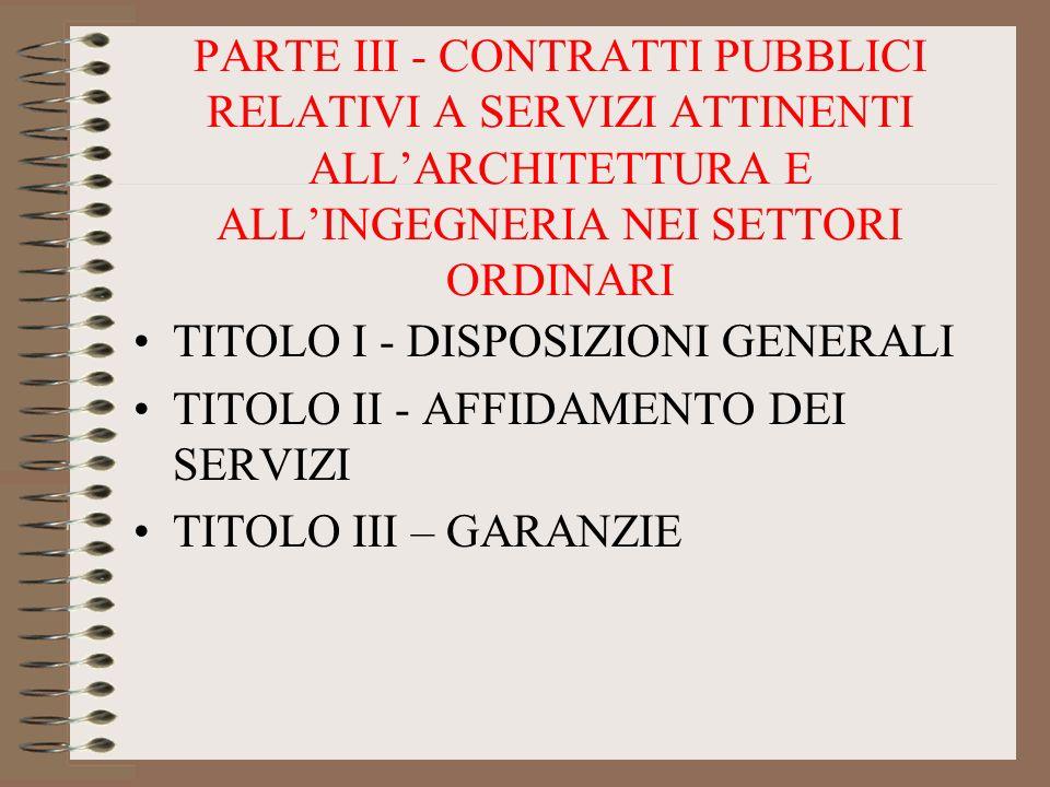 PARTE III - CONTRATTI PUBBLICI RELATIVI A SERVIZI ATTINENTI ALL'ARCHITETTURA E ALL'INGEGNERIA NEI SETTORI ORDINARI