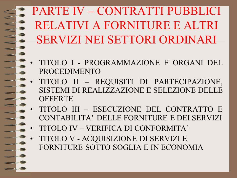 PARTE IV – CONTRATTI PUBBLICI RELATIVI A FORNITURE E ALTRI SERVIZI NEI SETTORI ORDINARI