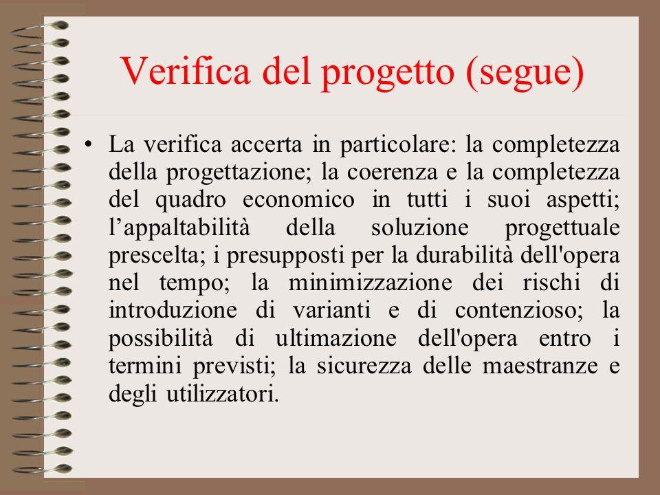 Verifica del progetto (segue)