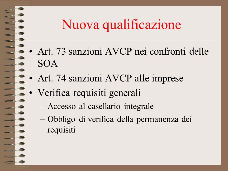 Nuova qualificazione Art. 73 sanzioni AVCP nei confronti delle SOA