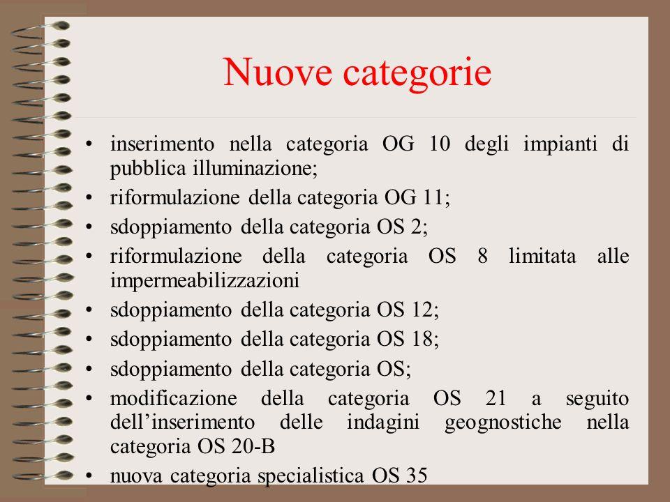 Nuove categorie inserimento nella categoria OG 10 degli impianti di pubblica illuminazione; riformulazione della categoria OG 11;