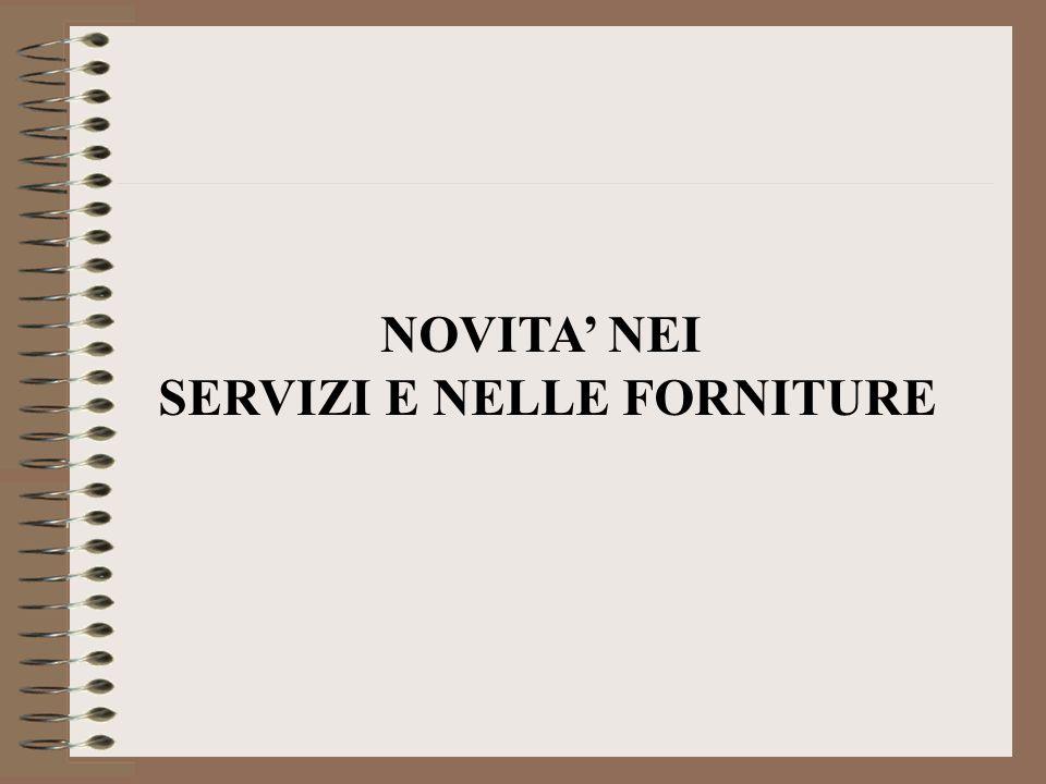 SERVIZI E NELLE FORNITURE