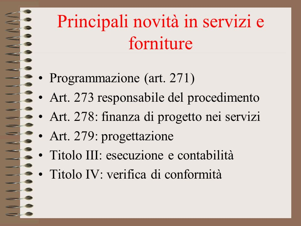 Principali novità in servizi e forniture