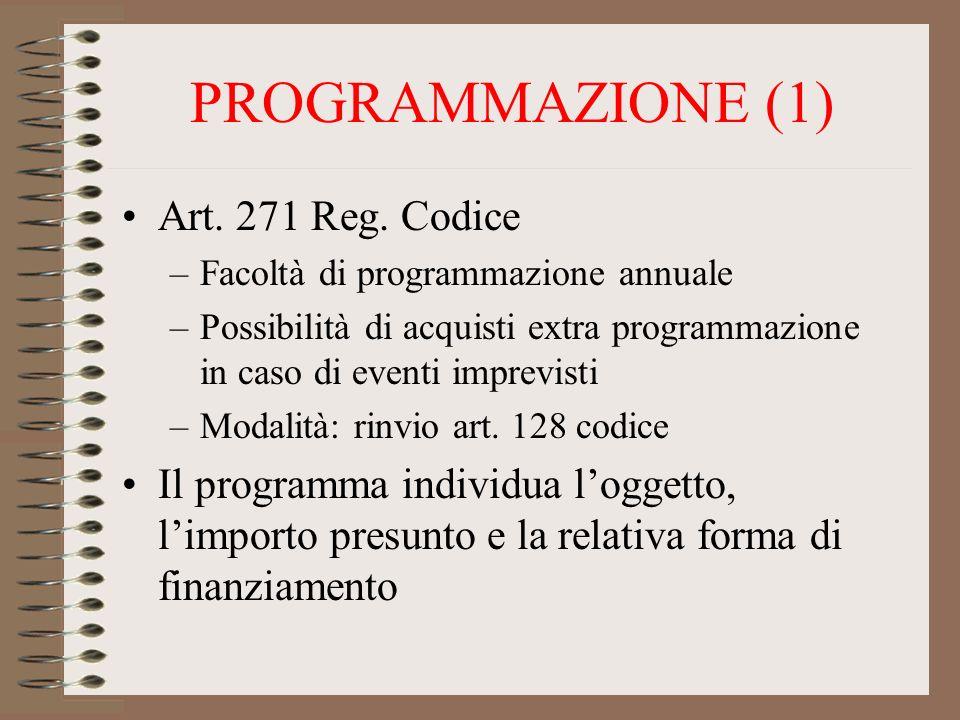 PROGRAMMAZIONE (1) Art. 271 Reg. Codice