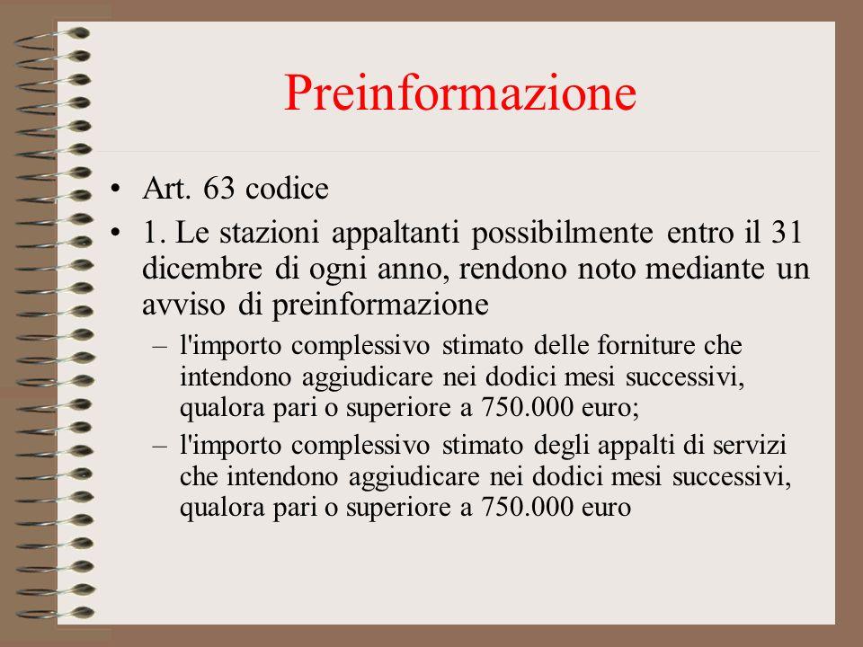 Preinformazione Art. 63 codice