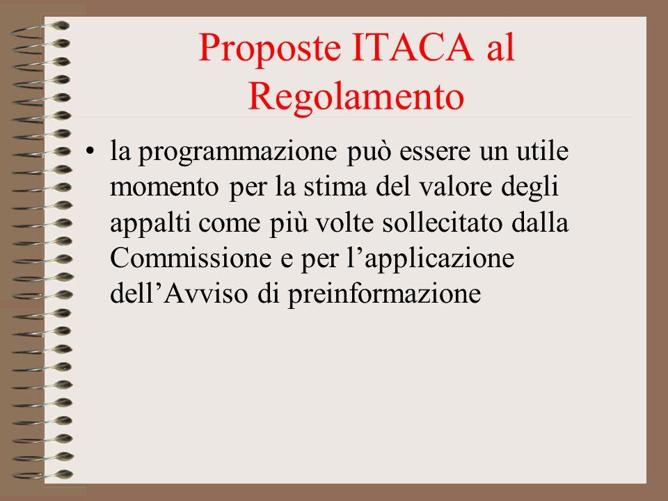 Proposte ITACA al Regolamento