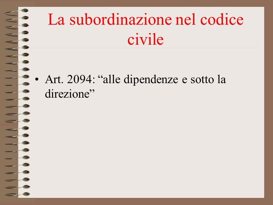 La subordinazione nel codice civile