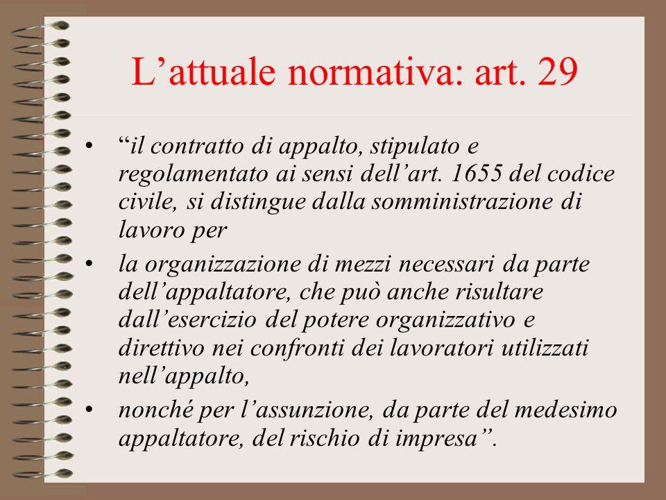 L'attuale normativa: art. 29