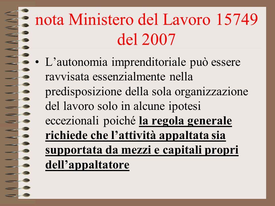 nota Ministero del Lavoro 15749 del 2007