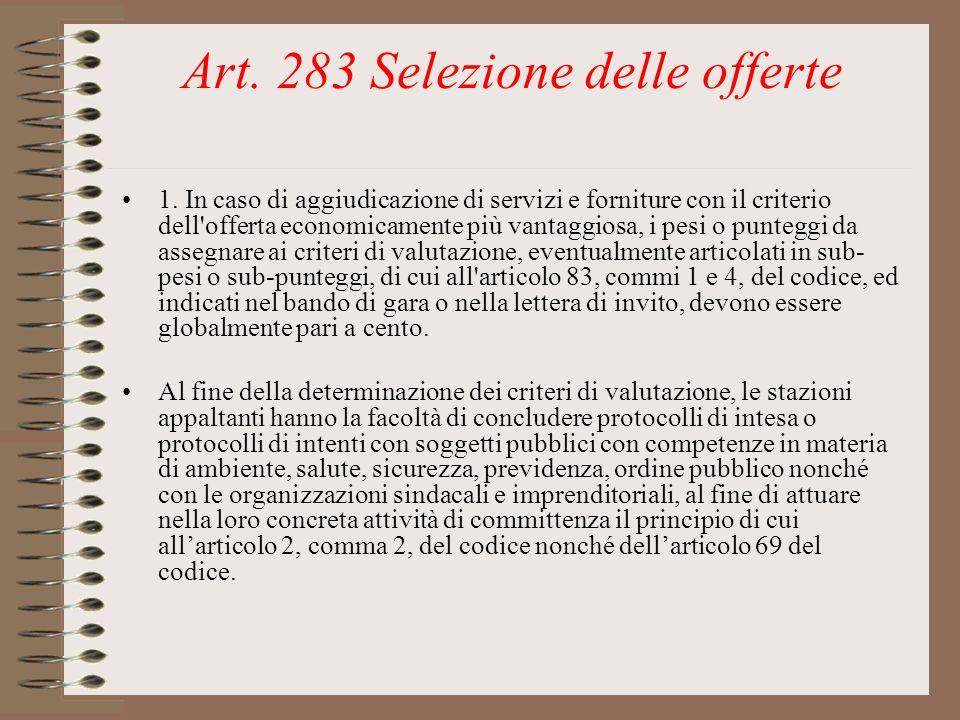 Art. 283 Selezione delle offerte