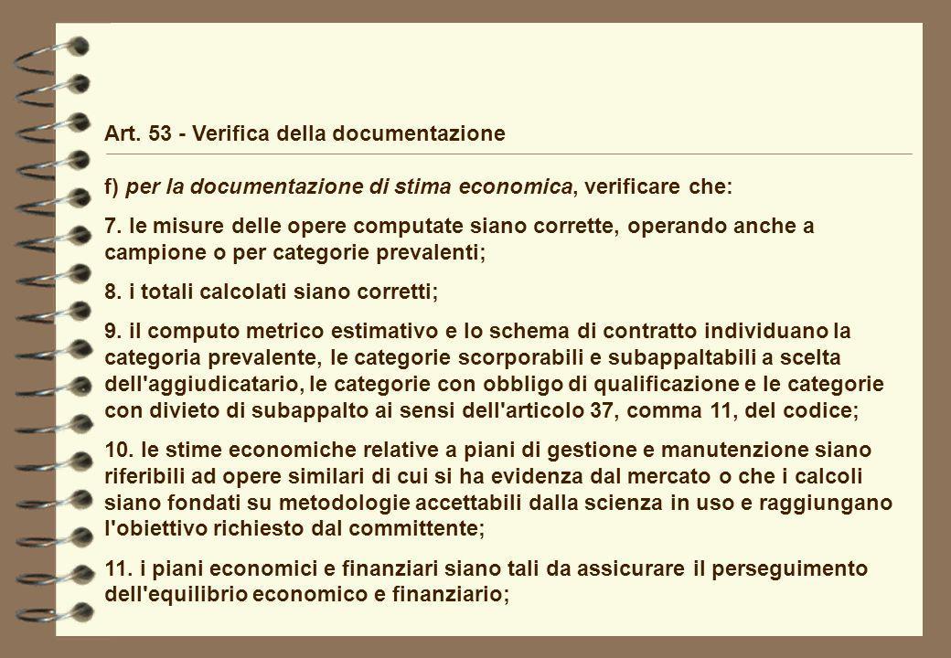 Art. 53 - Verifica della documentazione