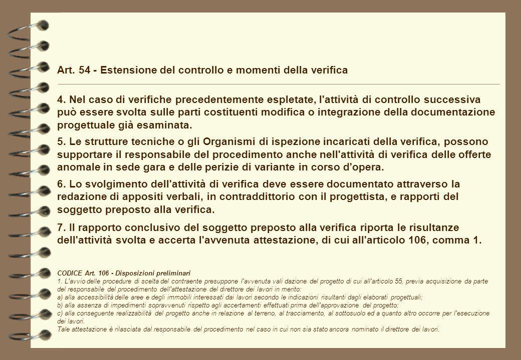 Art. 54 - Estensione del controllo e momenti della verifica