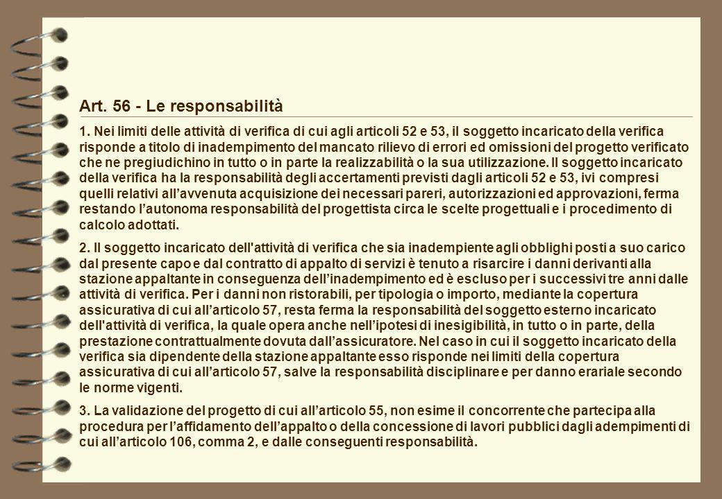 Art. 56 - Le responsabilità
