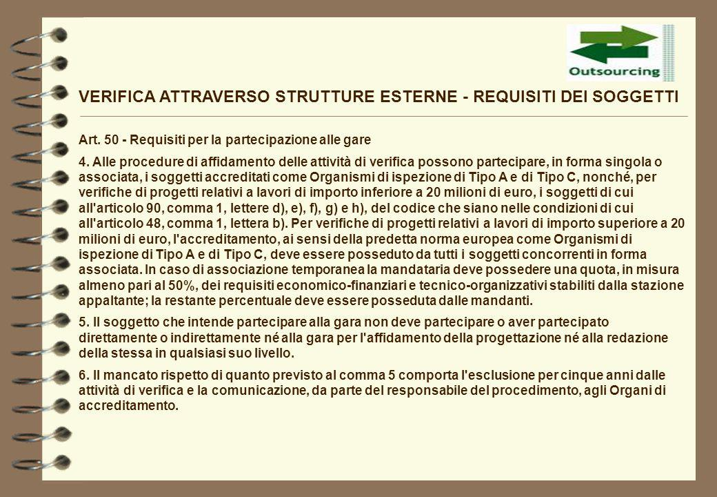 VERIFICA ATTRAVERSO STRUTTURE ESTERNE - REQUISITI DEI SOGGETTI