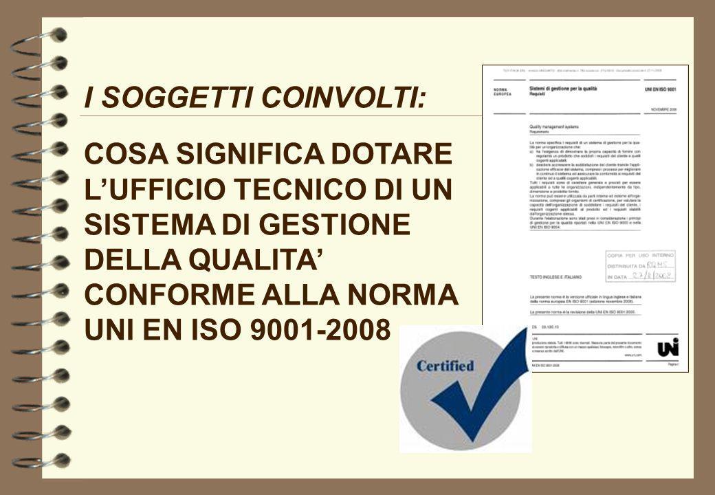 I SOGGETTI COINVOLTI: COSA SIGNIFICA DOTARE L'UFFICIO TECNICO DI UN SISTEMA DI GESTIONE DELLA QUALITA' CONFORME ALLA NORMA UNI EN ISO 9001-2008.