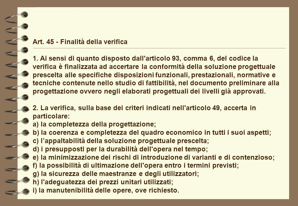 Art. 45 - Finalità della verifica