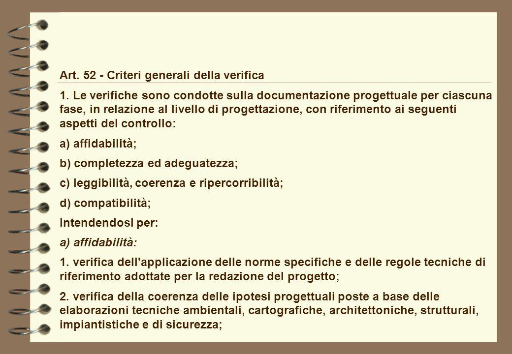 Art. 52 - Criteri generali della verifica