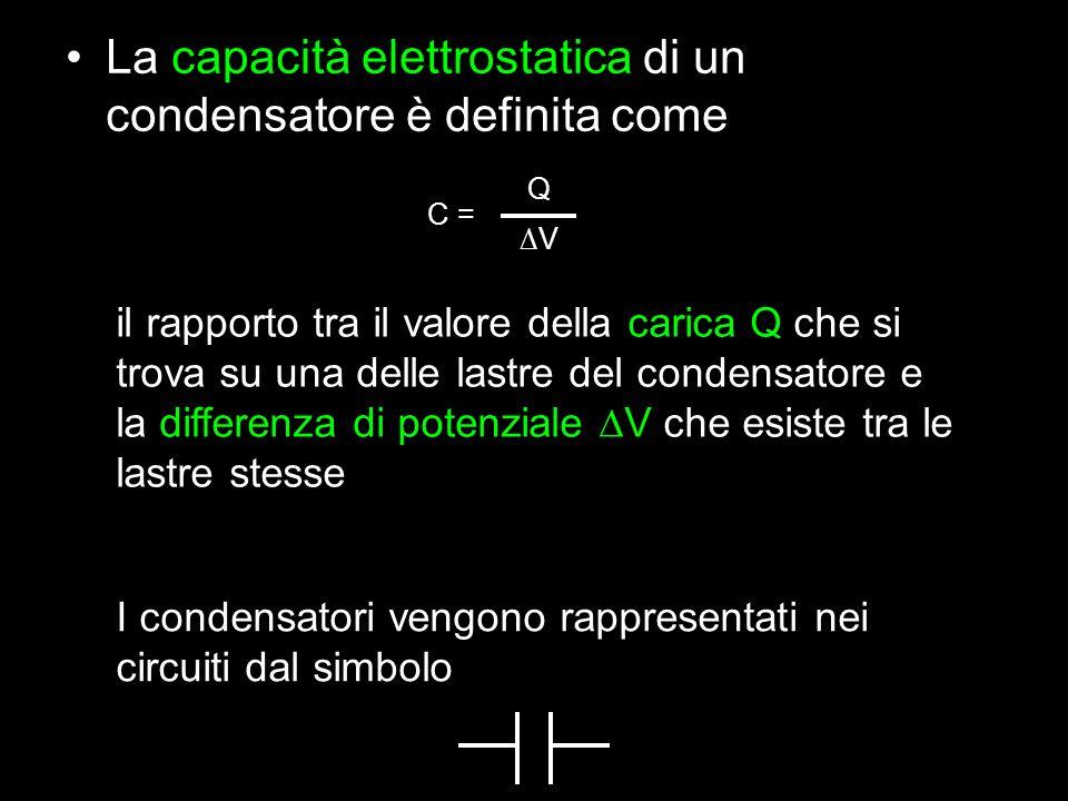 La capacità elettrostatica di un condensatore è definita come