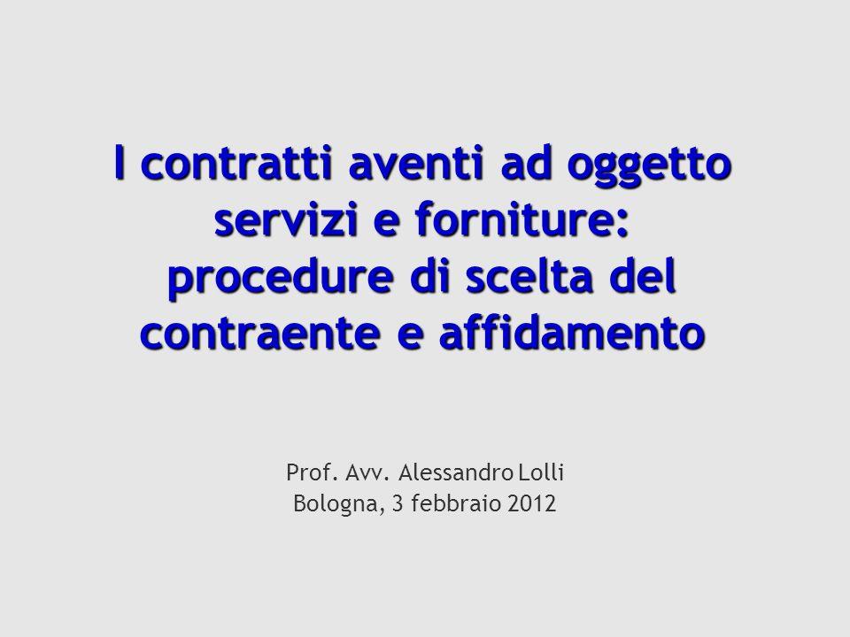 Prof. Avv. Alessandro Lolli Bologna, 3 febbraio 2012