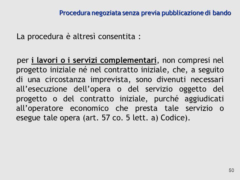Procedura negoziata senza previa pubblicazione di bando