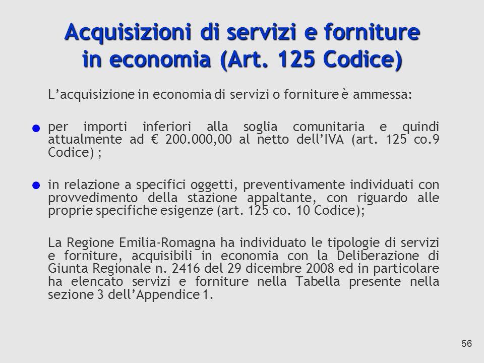 Acquisizioni di servizi e forniture in economia (Art. 125 Codice)