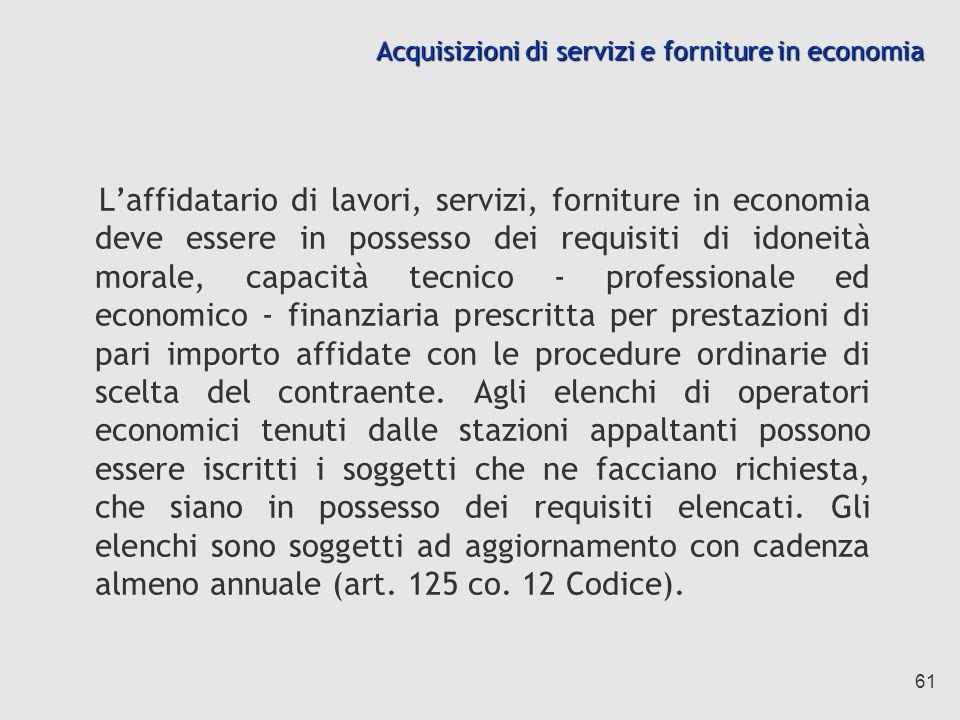 Acquisizioni di servizi e forniture in economia