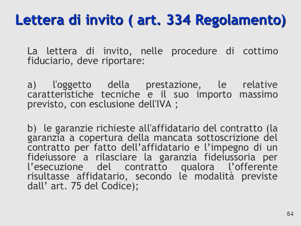 Lettera di invito ( art. 334 Regolamento)