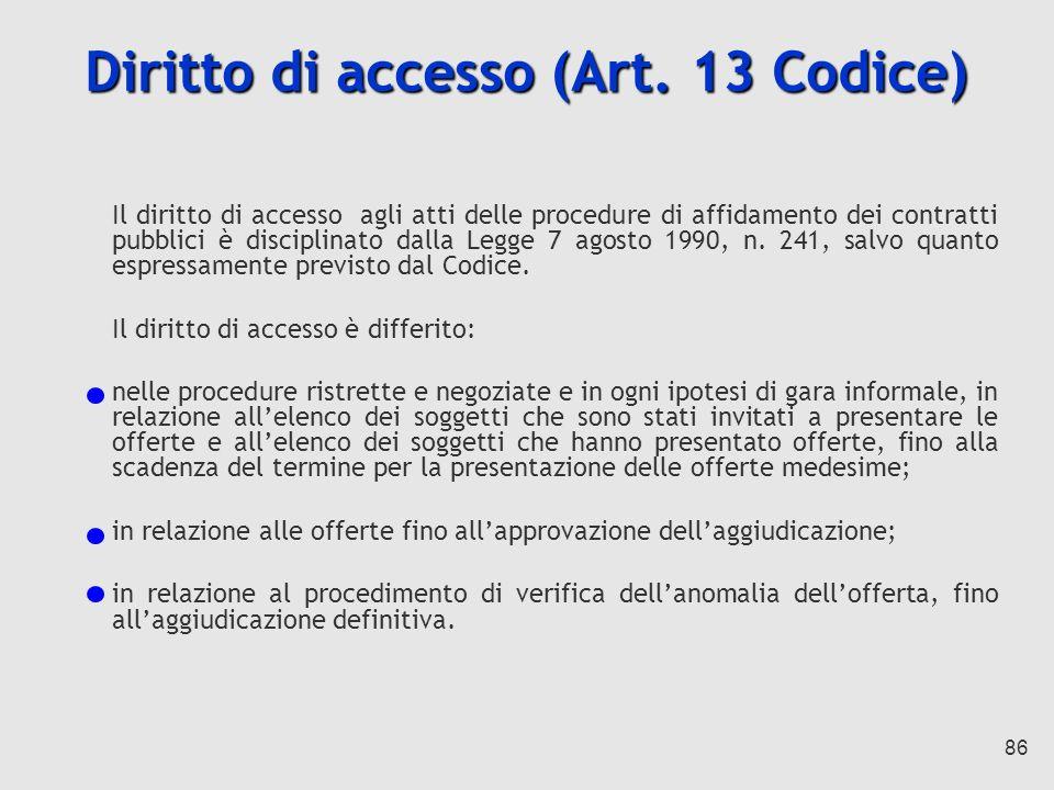 Diritto di accesso (Art. 13 Codice)